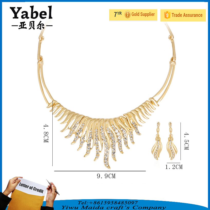 Wholesale gold plated fancy necklace sets crystal bridal jewelry sets