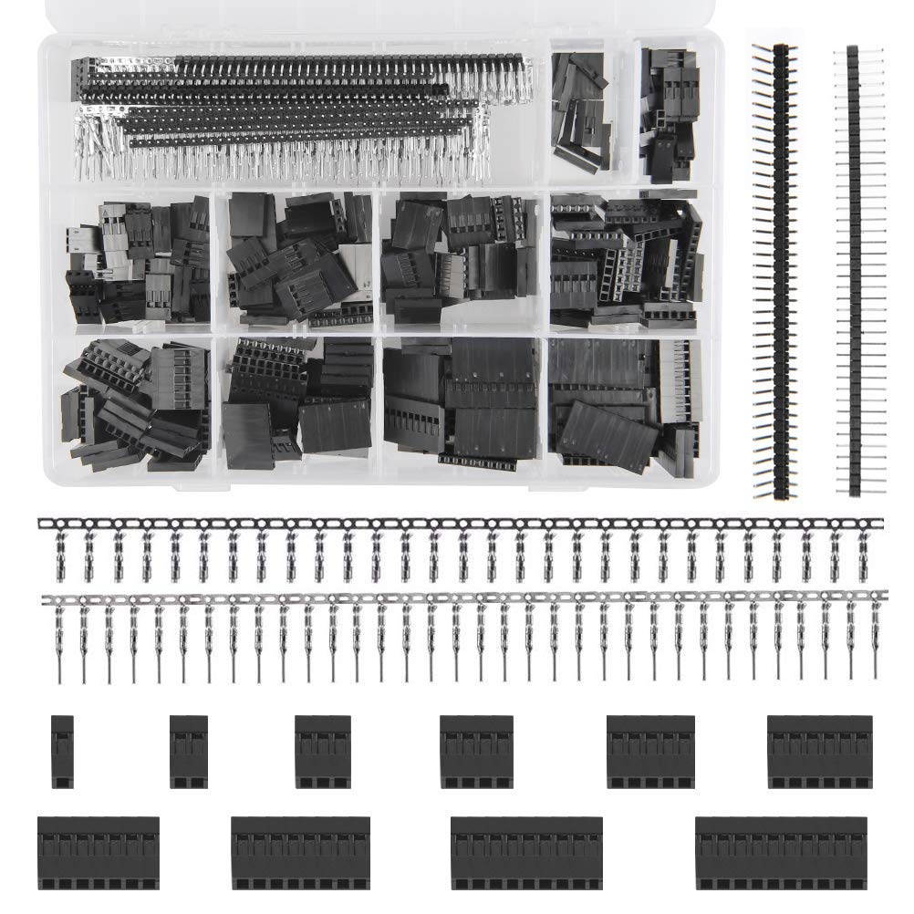 QLOUNI 1100Pcs 40 Pin 2.54mm Pitch Single Row Pin Headers Dupont Wire Housing Female Dupont Male/Female Pin Crimp Connector Kit PCB Cable Kit with Box