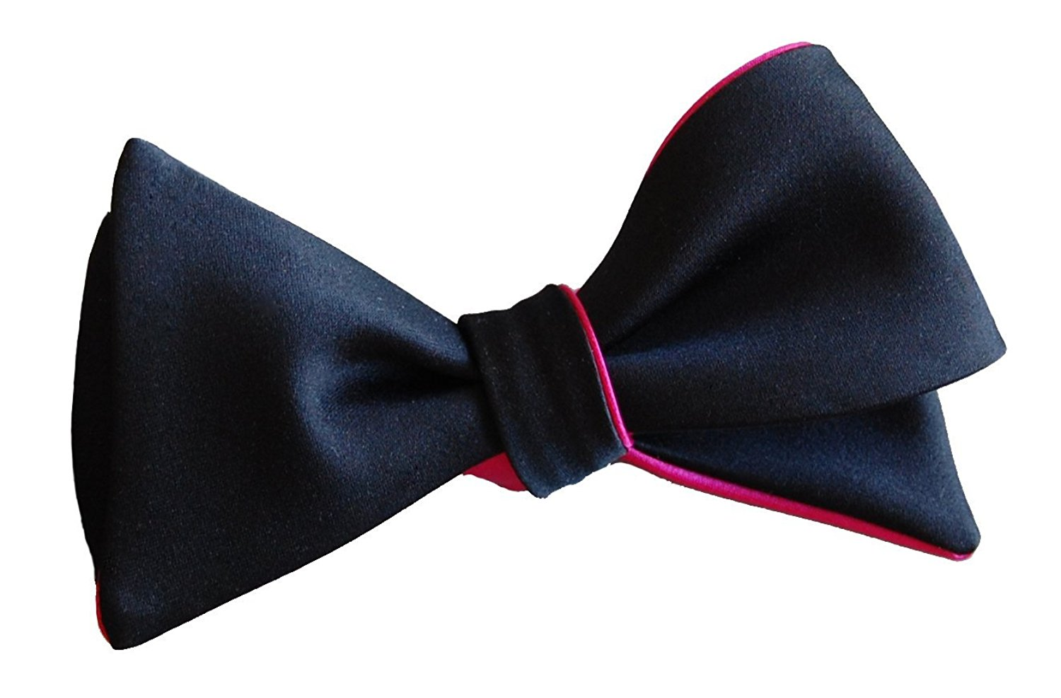 Black and Hot Pink Bow Tie by Knot Theory - tailor handmade - 6 ways to wear - impeccable quality - self-tie butterfly - wedding grooms groomsmen - grad prom events
