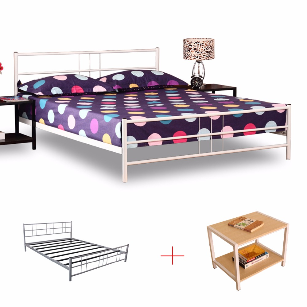 Girl's bedroom furniture delicate and pretty metal double bed white circular tube metal knock down beds