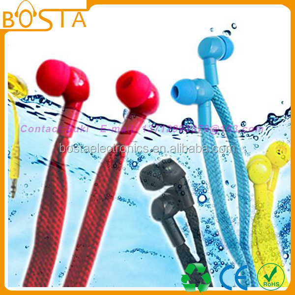 2015 Newest fashion clothes decoration swimming shoelace waterproof earphones