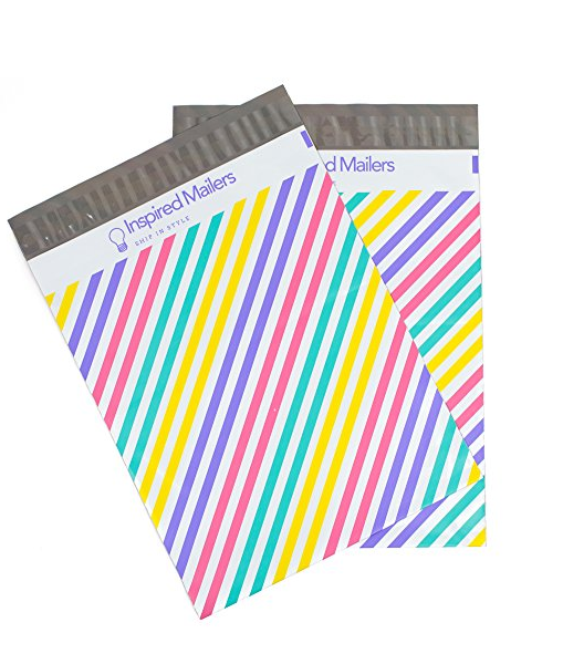 10x13 Colorful Pastel Stripes Shipping Envelopes Poly Mailing Bags