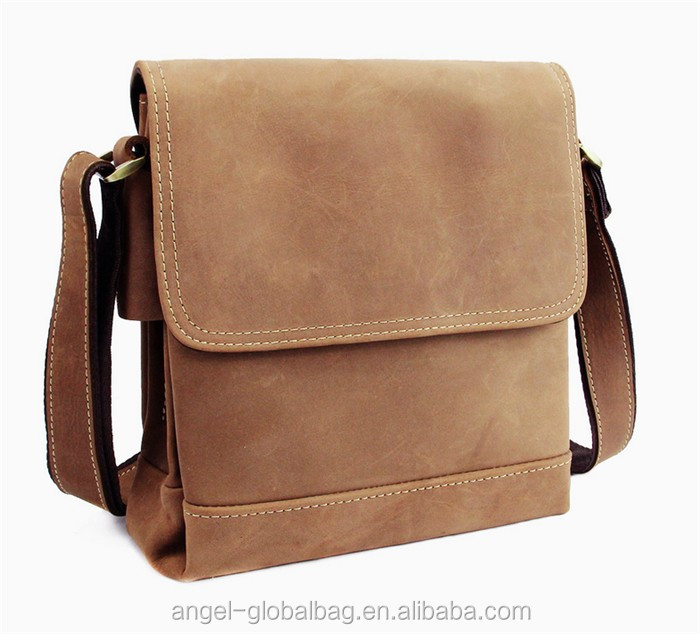 Guangzhou wholesale fashion crazy horse leather sling bag mens shoulder bag