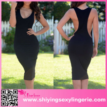 Wholesale Latest Cheap Black Big Armhole Sleeveless Jersey Dress pu dress xxxl