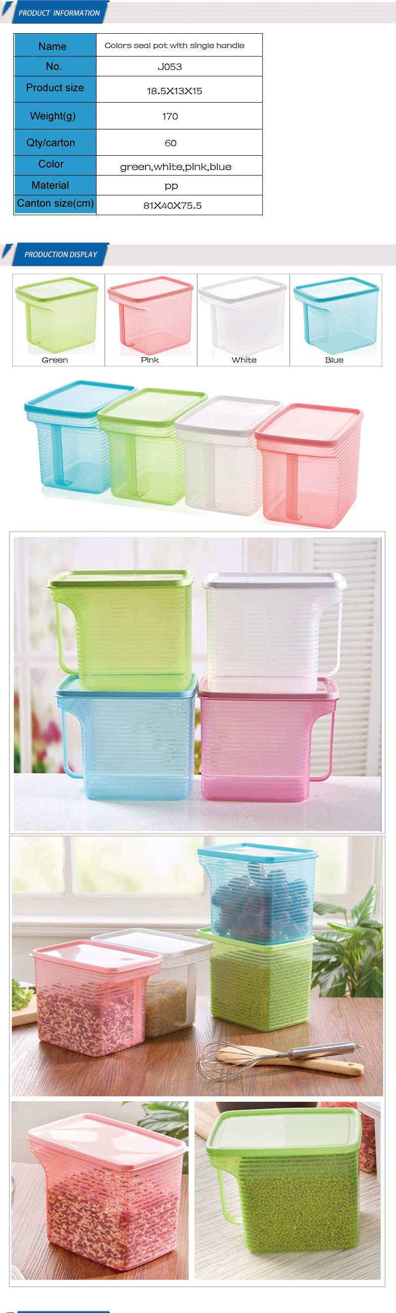 PP container for flour rice cookie sugar Kitchen Food Crisper container refrigerator small storage box containers with handle