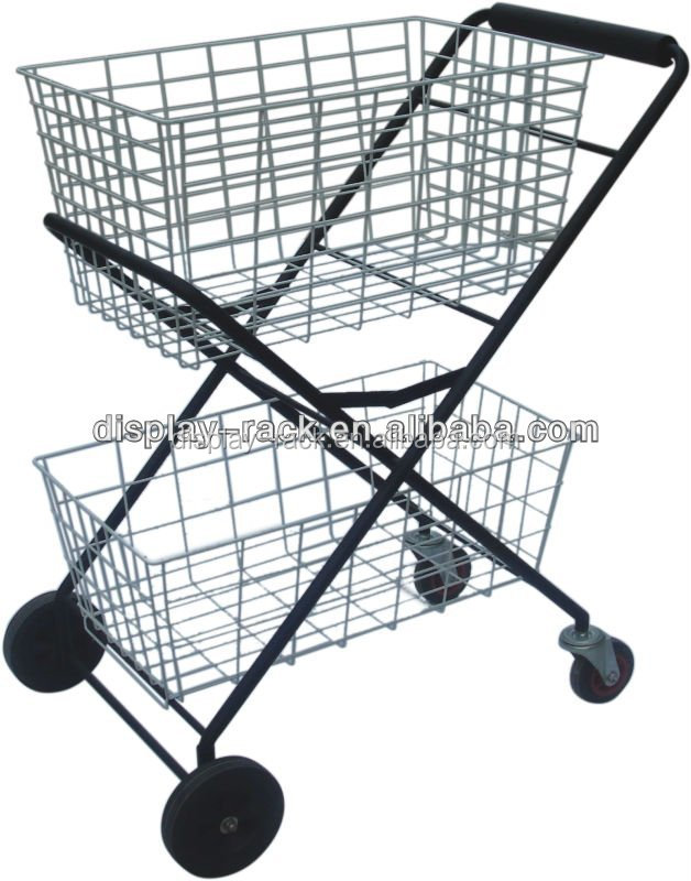 supermarket folding metal shopping trolley with 2 baskets HSX-31