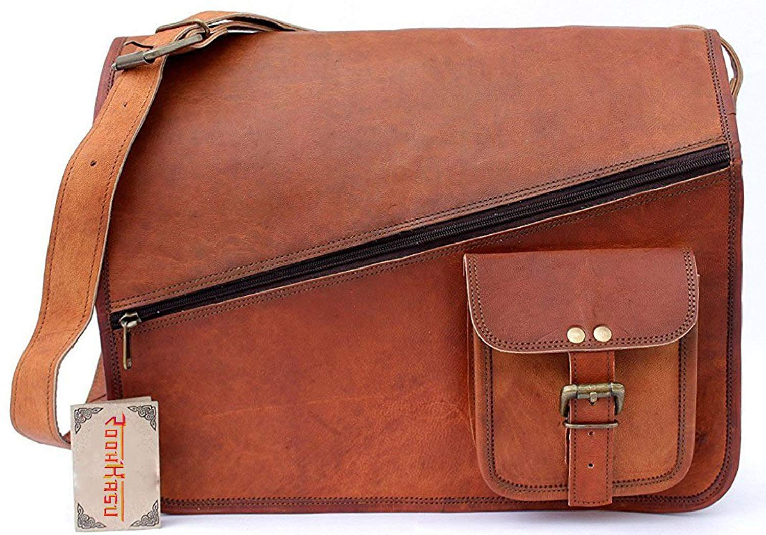 "2018 Hot Sale ! Vintage Brown 15"" leather messenger bag for men women by Roohkasu