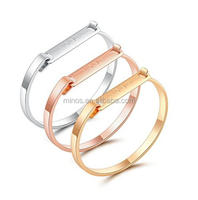 3pcs Mens Womens Silver Rose Gold Stainless Steel Cuff Bangle Bracelets Wristband Set For Men Women