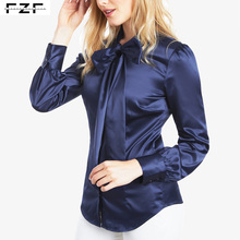 Navy Gemonteerd Kantoor Shiny Satin Lady <span class=keywords><strong>Blouse</strong></span> & Top