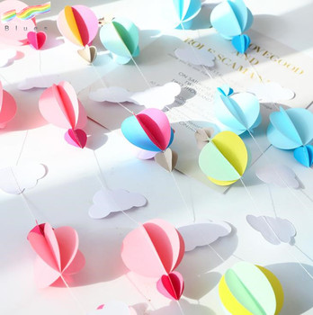 Clouds Hot Air Balloons Heart Shapes Wall Hanging Paper Garland Craft Party Banner Decoration