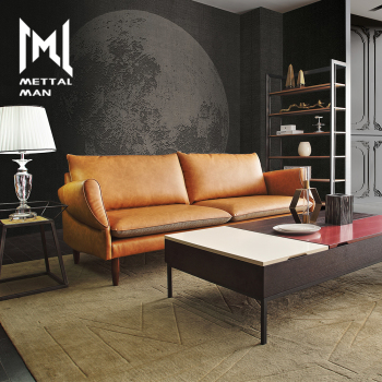 Modern Synthetic Leather Sofas Lounge Orange Set Divan