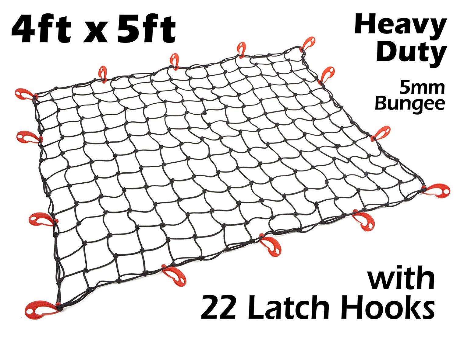 Black Net Stretches to 72 x 90 4ft x 5ft PowerTye Mfg EXTREME Duty 6mm Bungee Elastic Cargo Net 22 Adjustable Large Hooks