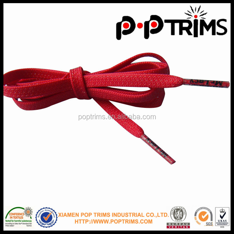 red polyester flat shoelace with plastic tips