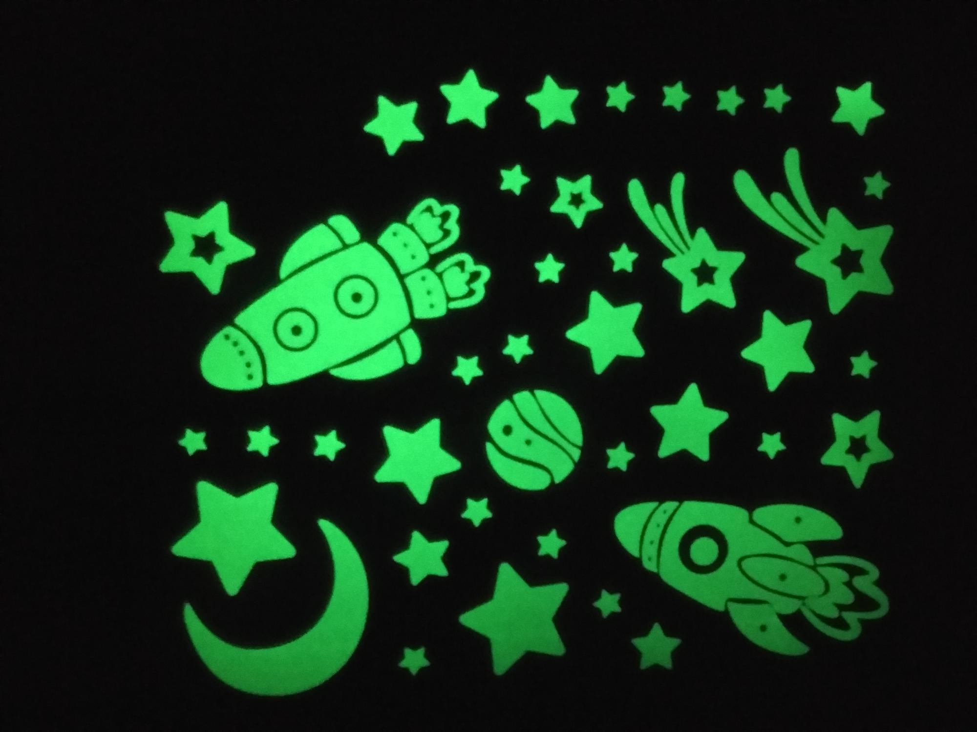 Vinyl Fluorescent Stars Luminous Space Planets Rocket Ufo Astronaut Home Decor Kids Room Kids 3D Glow Wall Sticker