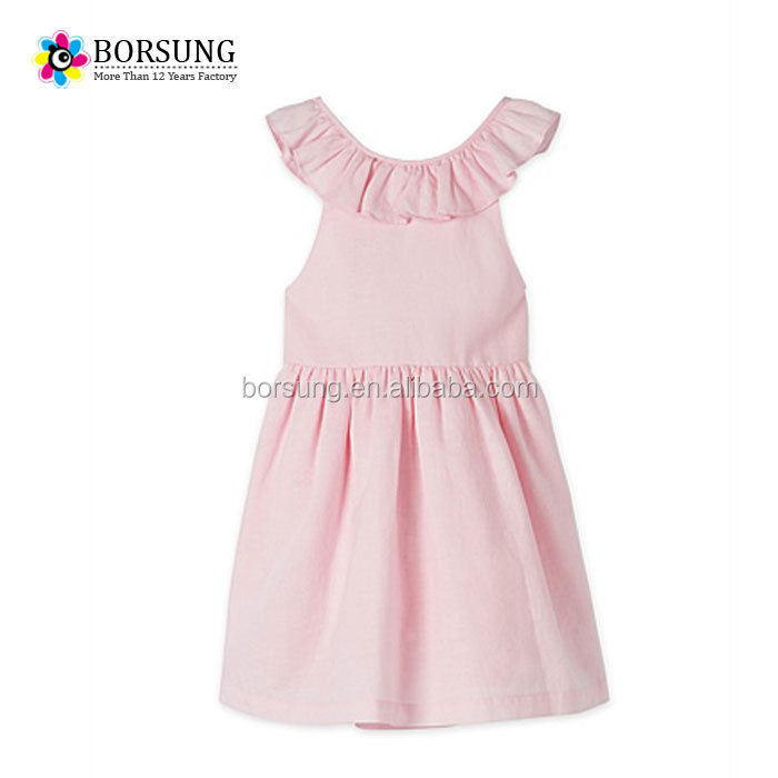 High quality children frocks designs pink sleeveless ruffle backless clothing for girls party dresses