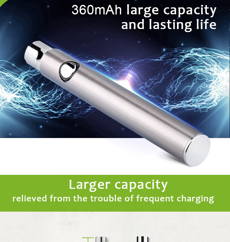 Transpring New arrival 510 voltage preheat battery 320mah vaporizer preheating vape pen 510 battery