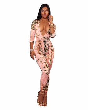 S8776 long sleeve V neck sexy one piece print catsuit for women