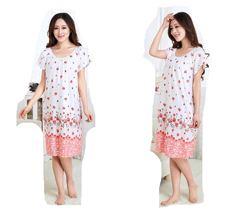 f7ada6b886d Get Quotations · AE Women Sleepwear Summer Flowers Leaf Nightdress Sleepwear  Women s Nightwear Sleepshirt Nightshirt