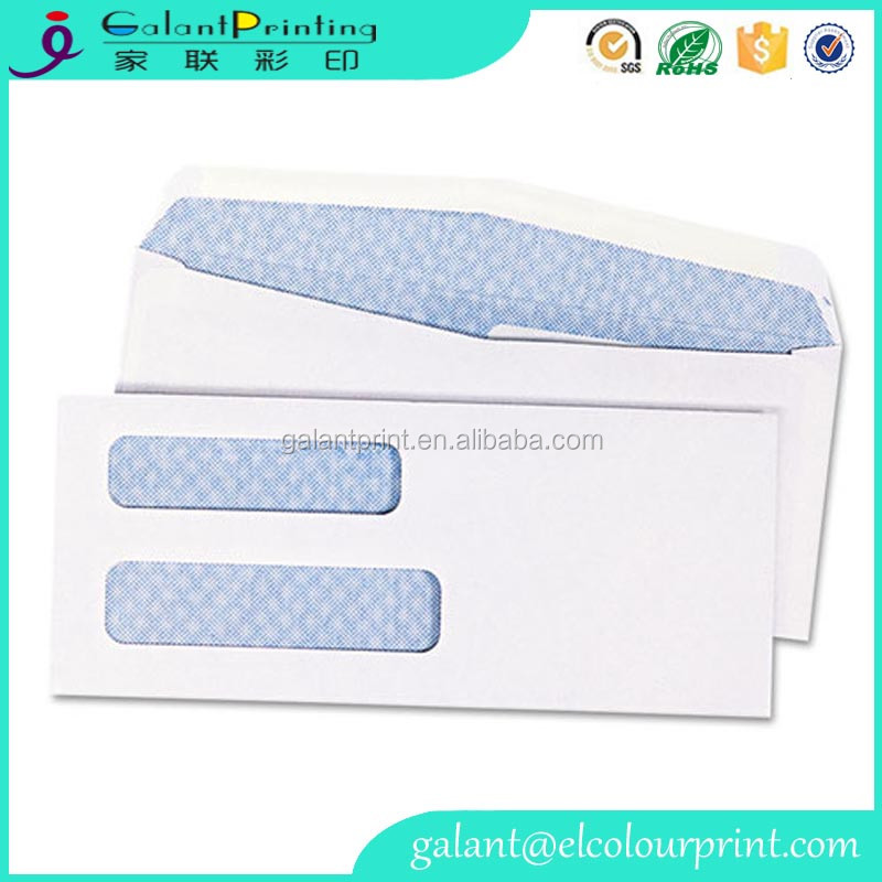 Custom design double window white paper business envelopes with peel and seal