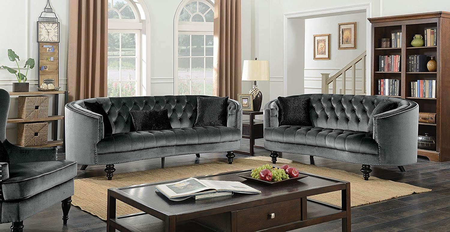 Get quotations · esofastore formal luxurious traditional gray flannelette fabric sofa loveseat tufted cushions nailhead trim 2pc sofa set