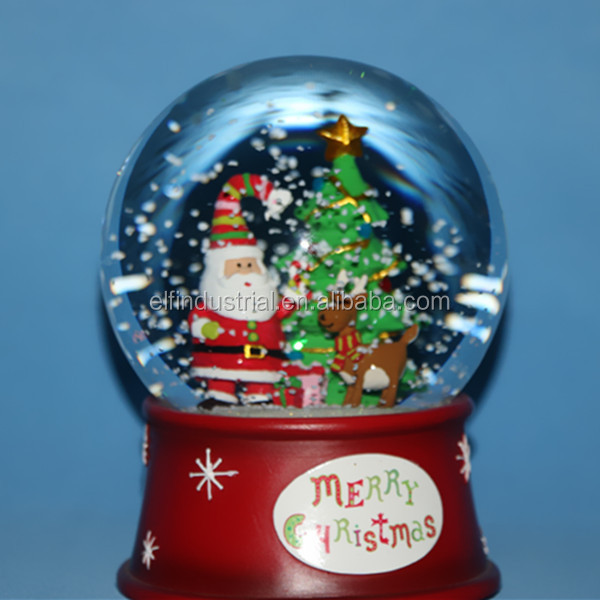 glass music Santa Claus with christmas tree snow globe