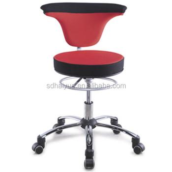 Rolling Office Stool Lab Drafting Swivel Chair Back Cushion Adjustable Task