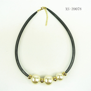 New design black weave necklace hollow necklace with pearls