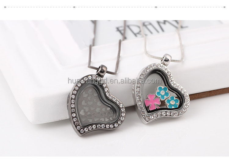 Hot sale locket pendant/rhinestone alloy floating heart locket pendant
