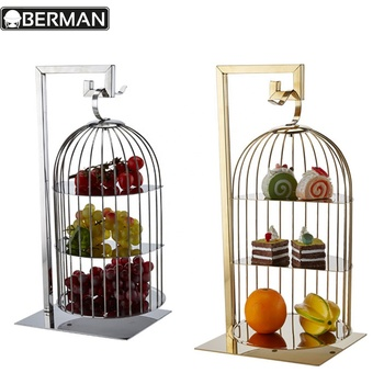 Wholesale restaurant supply high quality 3 tier stainless birdcage afternoon tea wedding cake stand india banquet buffet display