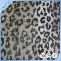 100% polyester animal print/Leopard faux fur fabric