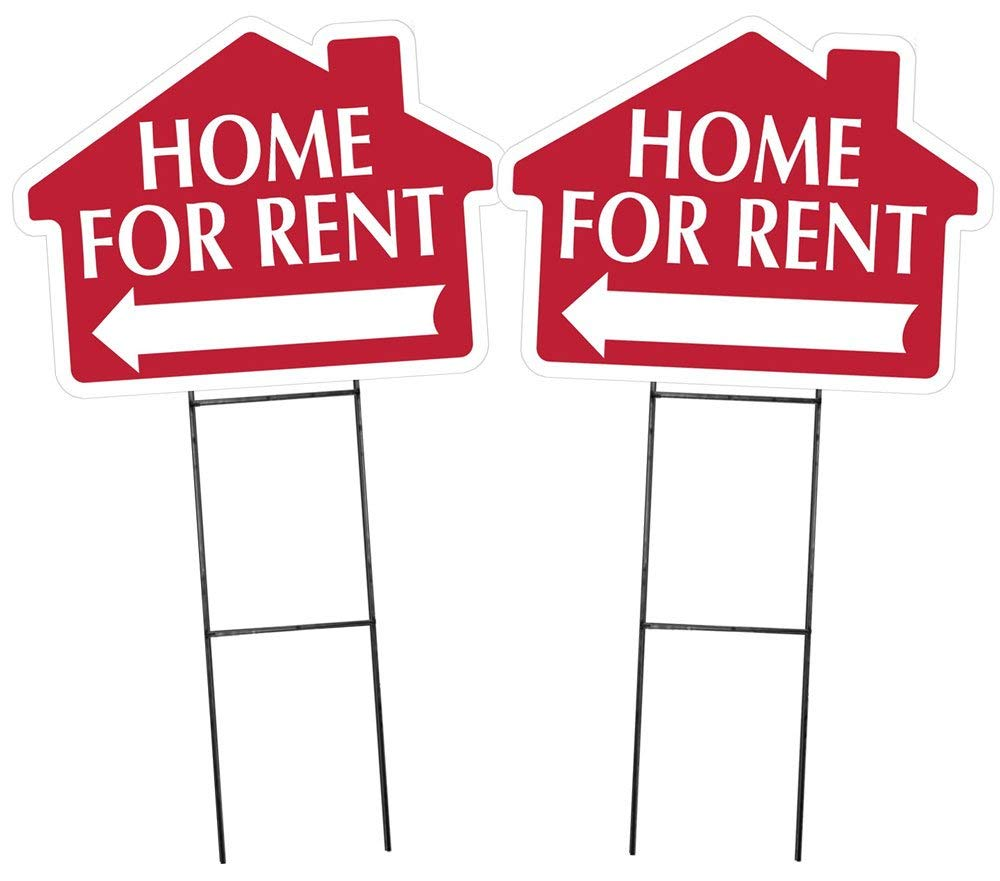"""HOME FOR RENT Sign with Arrow - 2 Pack - House Shape Corrugated Sign INCLUDES 2 Signs and 2 - 24"""" Sign Stakes"""