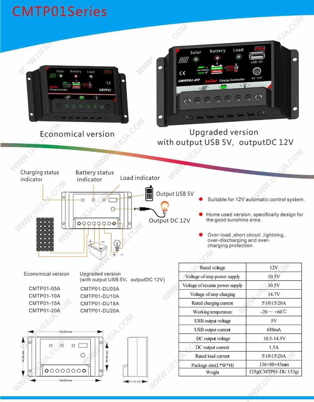 Stage Led Street Light Solar Charge Controller With Usbdc 15a Lightsolar 12 24v Circuitsolar Cmtp01 Du15a