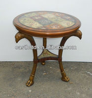 Antique look wooden carved Eagle round marble top console/end table
