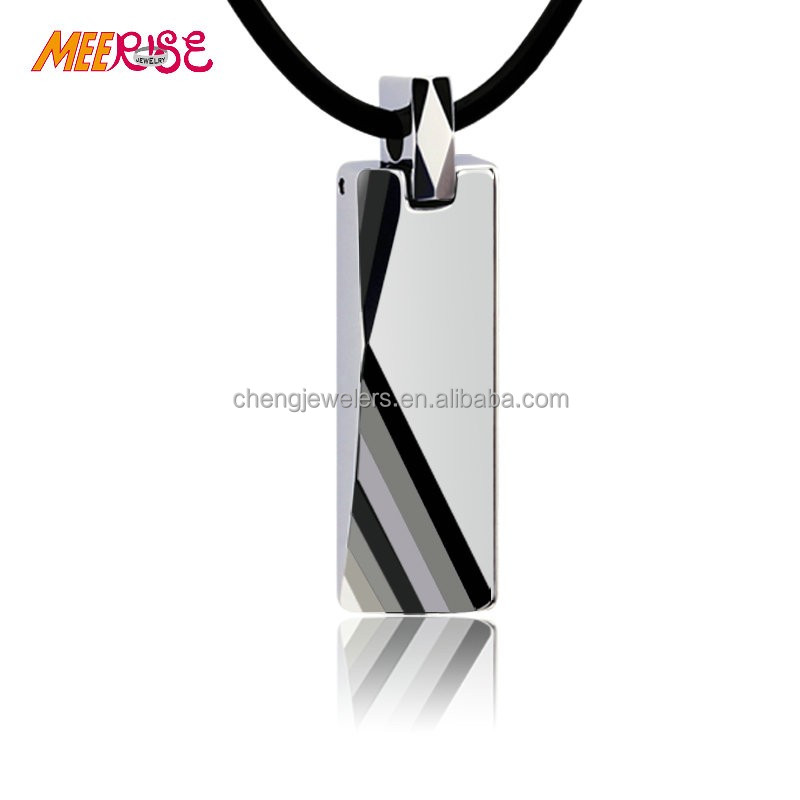 Gents jewelry milti mirror facets tungsten pendant necklace