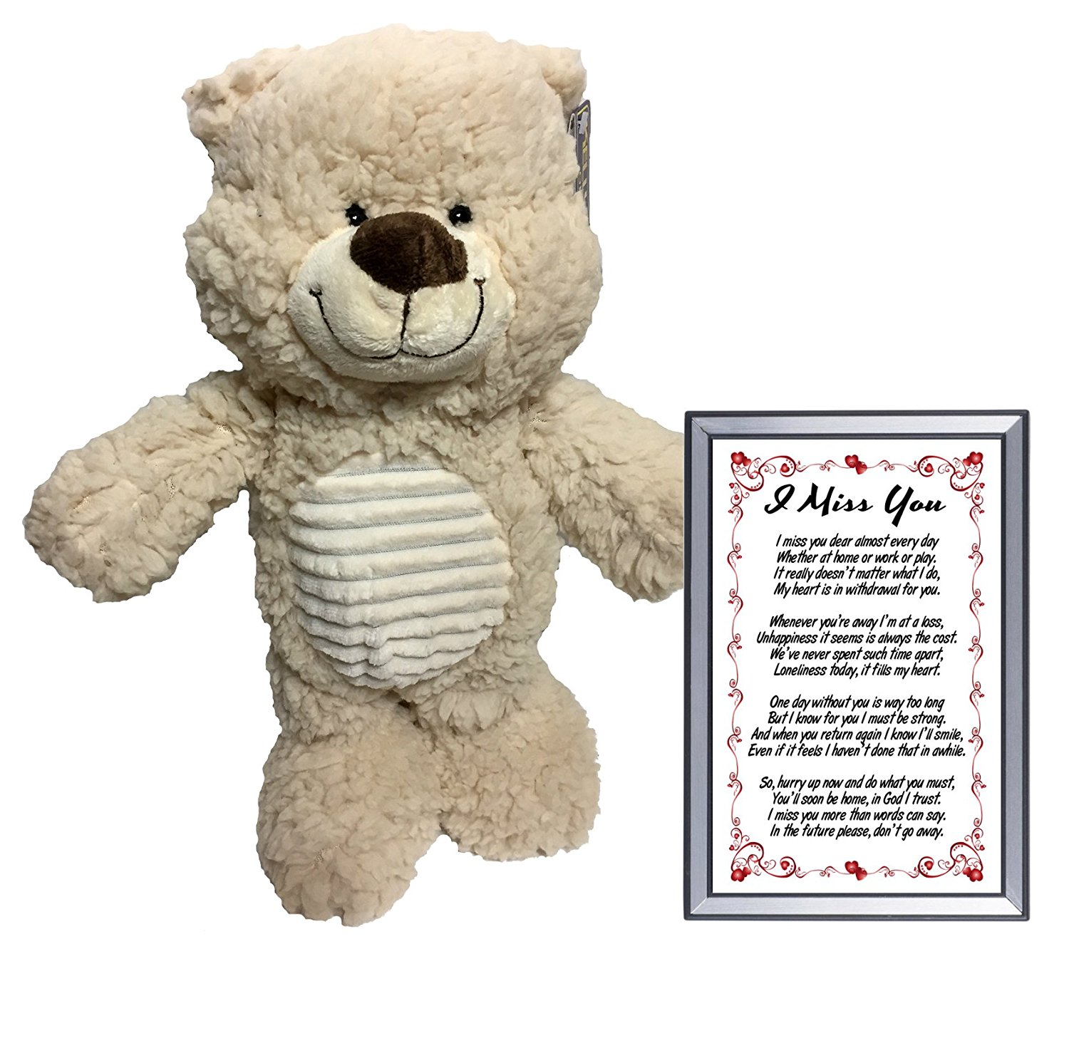 I Miss You Gift 14 Inch Plush Teddy Bear and Sentimental Romantic Love Poem Gift in 4x6 Inch Picture Frame for Valentines Day, Birthday, Christmas - By Words Matter Gifts
