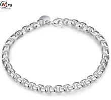 Wholesale Silver Plated Fashion Bracelet Bangle Jewelry Trendy Women Men Round Grid Bracelets Free shipping Friendship