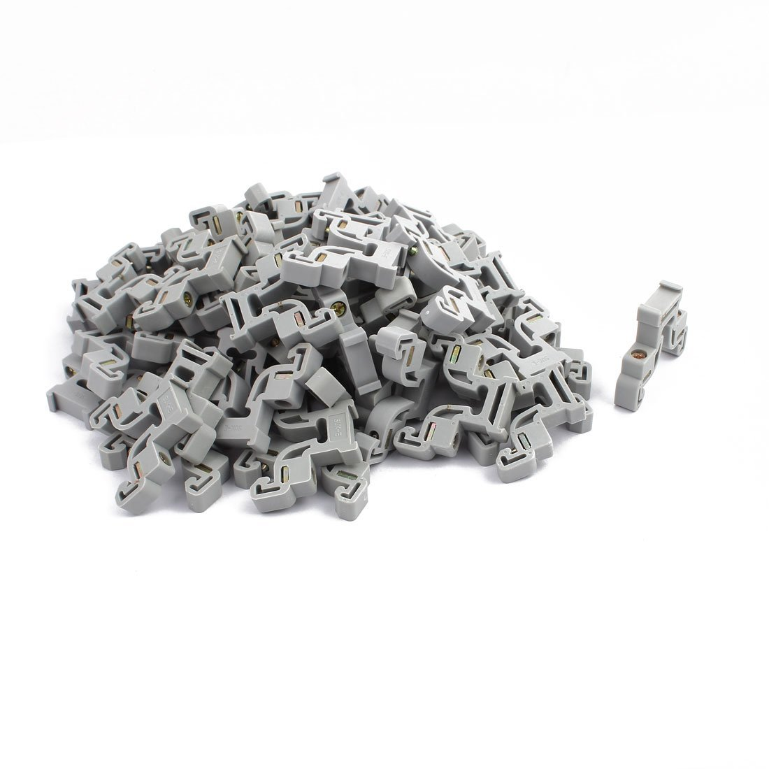 Aexit 50Pcs 43x35x8mm 35mm DIN Rail End Screw Clamp Terminal Fixed Block Gray