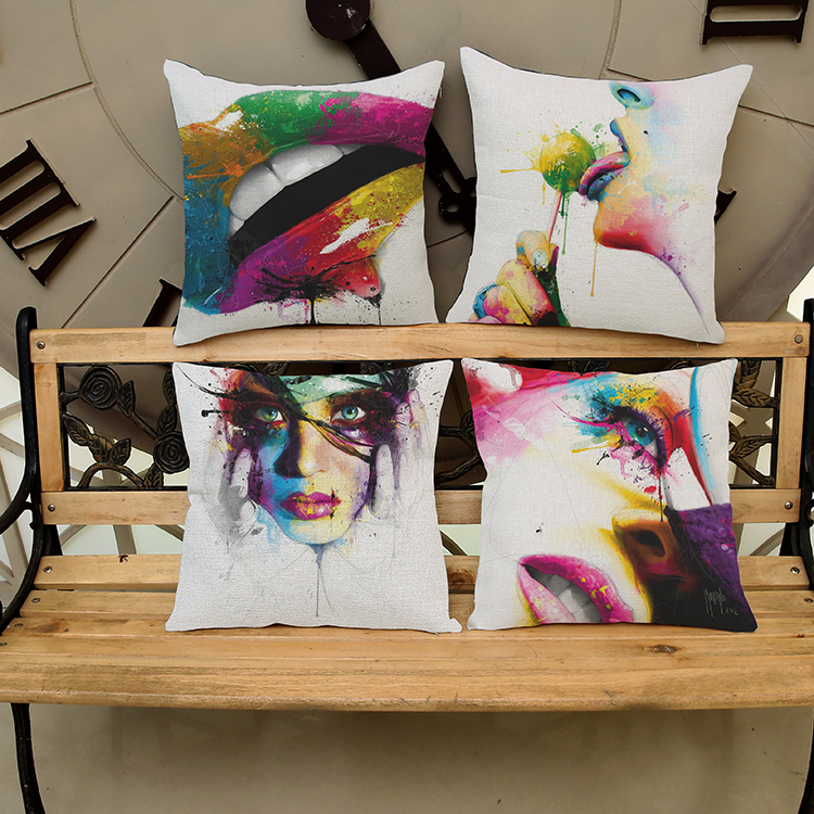 Factory outlets Watercolor lip Pattern printing Luxury home Decorate outdoor Car sofa seat cushion cushions pillow Free shipping