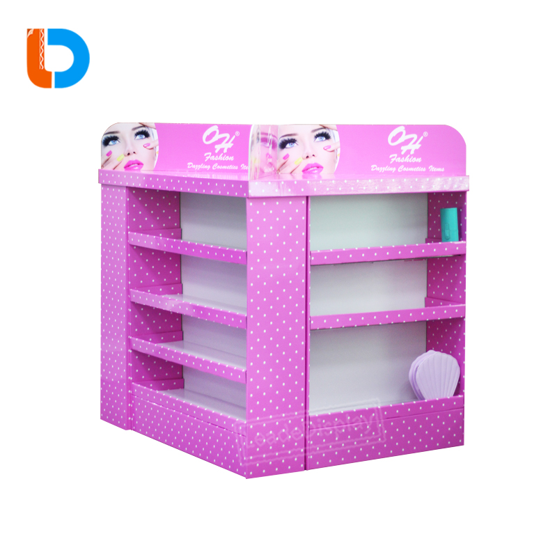 China OEM Retail Cardboard Pallet Display POP Laminate Flooring Stand Display for Cosmetics