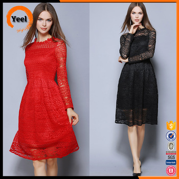 Delicate lace casual formal forck women dress apparel clothing