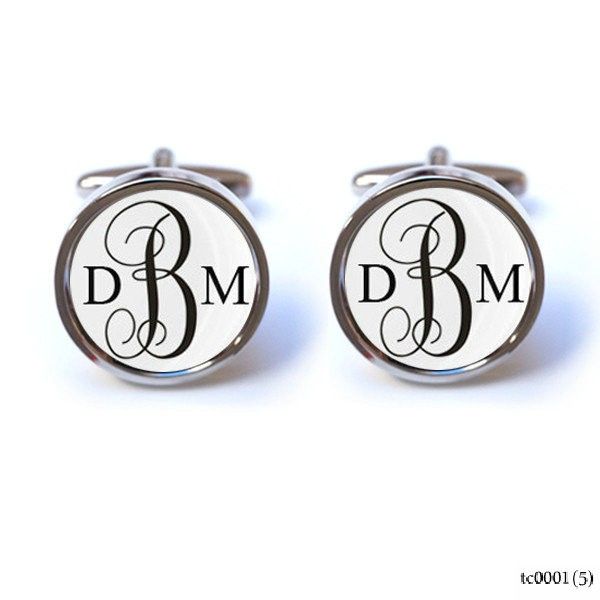STYLISH ENAMEL DISC MONOGRAM INITIAL CUFFLINKS