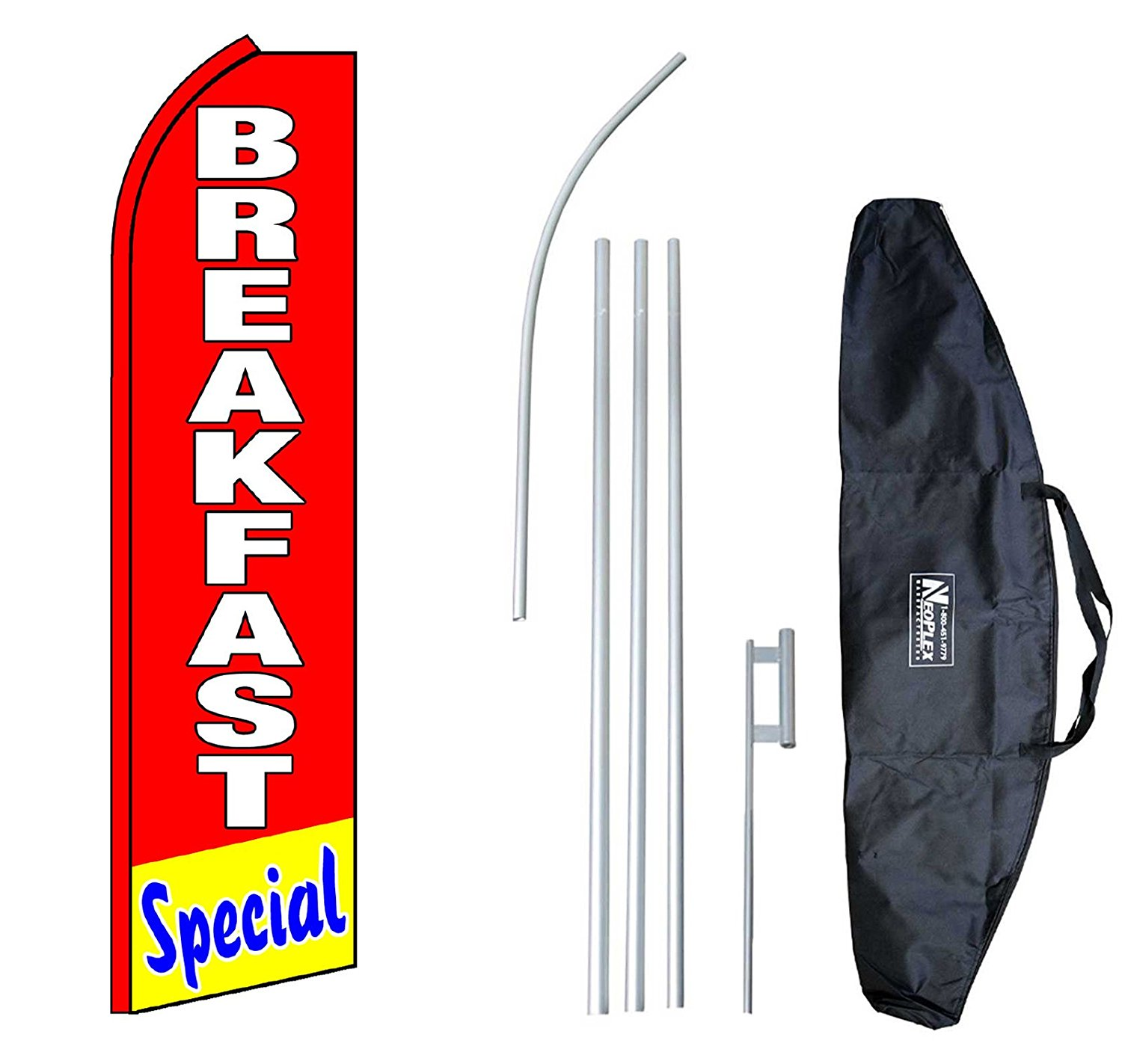 """Breakfast Special"" 12-foot Swooper Feather Flag and Case Complete Set...includes 12-foot Flag, 15-foot Pole, Ground Spike, and Carrying/Storage Case"