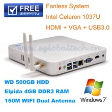 Cheap 4GRAM1TB HDD Fanless Mini Destop PC Computer HTPC Intel Celeron 1037U Dual Core Ultra Thin PC Terminal HDMI 1080P Slim PC