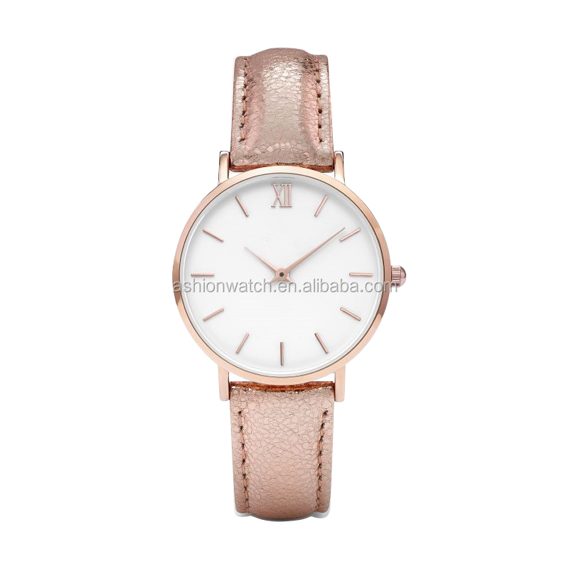 2017 latest hand watch for girl watch case leather strap