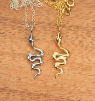 Gold Snake Necklace Serpent Necklace A 22K Gold Silver Plated Snake Jewelry