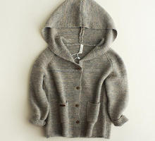 customized kids knitted hoodie baby plain hooded cardigan with pockets