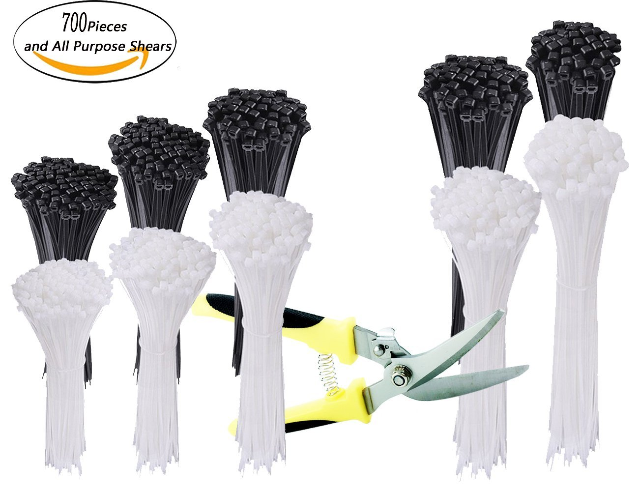 700 Pieces Zip Ties Nylon Cable Zip Ties with Self-Locking 4 6 8 10 12 Inches in Black & White and 8 Inch All Purpose Shears Perfect for Home Office Garage Workshop
