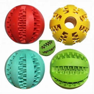 Large size pet toy rubber ball for training slow feed dog treat tooth cleaning