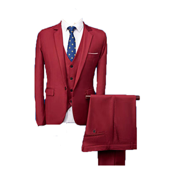 Slim Fit Dinner Suit in Blue/Red Men Suits 3 Pieces
