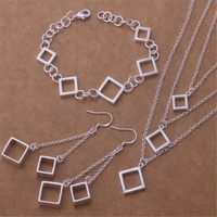 necklace earring bracelet 925 silver set copper alloy jewelry